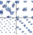 Set of four seamless patterns with blue flowers vector image vector image
