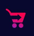shopping cart with arrow icon vector image