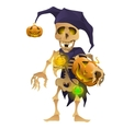 Skeleton in the hat of harlequin with pumpkin
