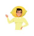 smiling man character in lemon fruit headwear vector image vector image