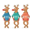 three deer dance Postcard Merry Christmas vector image