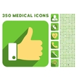Thumb Up Icon and Medical Longshadow Icon Set vector image vector image