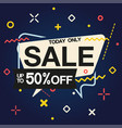 today only sale up to 50 off speech blue backgrou vector image vector image