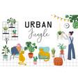 urban jungle trendy home decor with plants vector image vector image