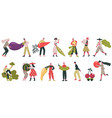 vegetarian characters people carrying raw vector image vector image