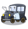 waiter old cartoon car in side garage vector image vector image