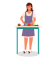 woman cutting vegetables making salad dish vector image