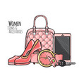 women items and accessories pink female objects vector image