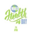 World health day concept with planet Earth vector image