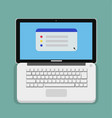 flat computer laptop design with keyboard vector image