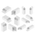 Gray box set vector image