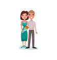 happy couple in love on a date cartoon vector image