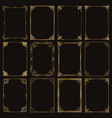 decorative rectangle gold frames and borders set vector image