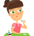 Cute girl sitting by the table drinking cup of vector image