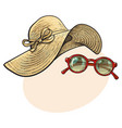 straw hat with wide flaps and sunglasses in red vector image
