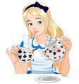 Alice takes tea cup vector image vector image