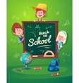 Back to school Cute schoolchild near blackboard vector image