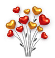 bouquet with branch red and golden hearts vector image vector image