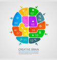 brain of puzzles with workers vector image vector image