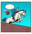 Businessman horseman on horse jumps over barrier vector image vector image