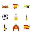 culture features of spain icons set flat style vector image