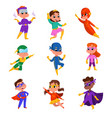 cute boys and girls in wearing colorful superhero vector image vector image