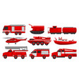 firefighting vehicles set emergency service for vector image vector image