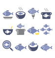 fish meals icons - soup chowder goulash fried vector image