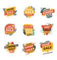 flat design origami summer sale labels 2 vector image vector image