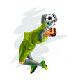 football goalkeeper jumps for ball on white vector image