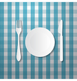 Fork Plate and Knife Made from Paper on Blue vector image
