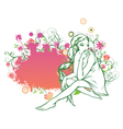 girl on a floral frame vector image vector image