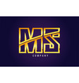 gold golden alphabet letter ms m s logo vector image