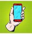 Hand Holding Smartphone Pop Art Design vector image