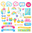 happy birthday scrapbook patch fantasy items and vector image