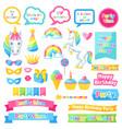 happy birthday scrapbook patch fantasy items vector image