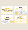 Happy thanksgiving hand drawn greeting cards set