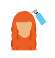 head woman with spray bottle barber product vector image