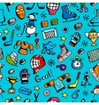 Hockey seamless pattern sketch for your design vector image vector image