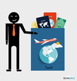International passport and elements of travel vector image