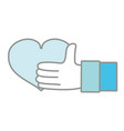 line color man hand with heart love symbol of vector image vector image