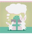 Little white rabbits Birthday gift vector image vector image
