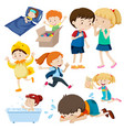 many children with happy face doing different vector image