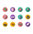 Masquerade accessories round color icons vector image
