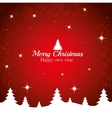 merry christmas happy new year tree red background vector image vector image