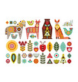 nordic animals and floral folk elements vector image