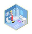 plumbing service isometric bathroom vector image vector image