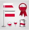 poland country flag place on map pin steel pole vector image vector image