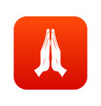 prayer icon digital red vector image