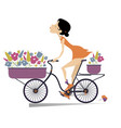 pretty young woman a bike and bouquets of flowers vector image